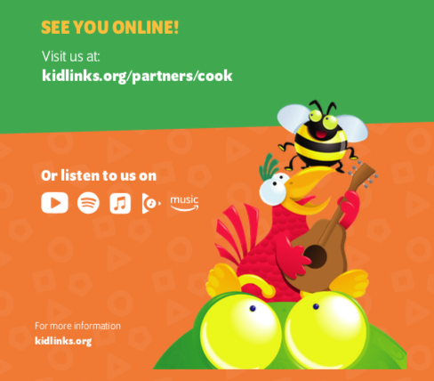 A section of a print brochure designed for distribution in select children's hospitals. The brochure contains illustrations of friendly characters as well as a link to the KidLinks website.